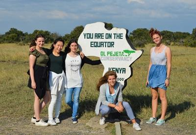 University clearing students enjoying a day out on a volunteer trip in Kenya