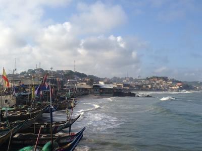 Scenic harbour view overlooking homes and boats in Cape Coast, Ghana