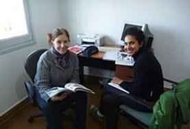 Volunteers working on their Spanish skills together