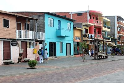 The main street in San Cristobal, filled with shops and restaurants