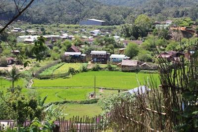 A scenic view over Andasibe village, Madagascar, where our projects are based