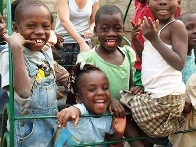 A group of little children in Togo smiling