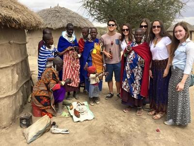 Volunteers at a Maasai village in Tanzania