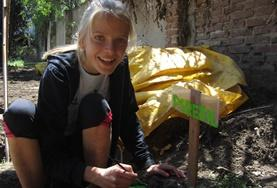 Volunteer partaking in gardening activity in Argentina