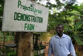 A sign signifies the Projects Abroad Demonstration Farm in Akuapem Hills