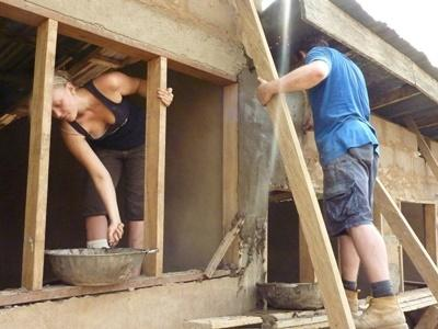 Building volunteers help construct schools in Ghanaian villages
