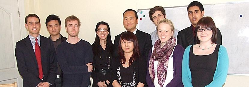 Business volunteers prepare to give presentation in China