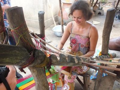 Volunteer learns Togolese crafts