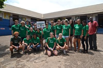 A group of volunteers outside a school in Jamaica