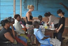 Pharmacy Elective interns complete their course requirements by working at medical outreaches in communities in Ghana.