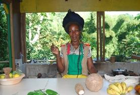 A Jamaican woman poses for a picture