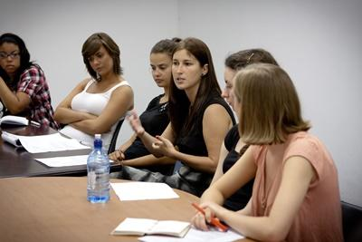 Volunteers at a Human Rights meeting