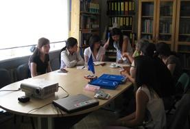 Law volunteers have a meeting at their placement in Mongolia