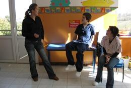 Physiotherapy volunteers discuss their work at a placement in Romania