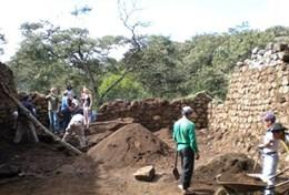Arcgaeology volunteers continue excavation efforts at a placement in Peru