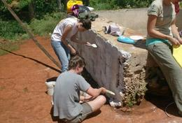 Volunteers participate in building acitivities