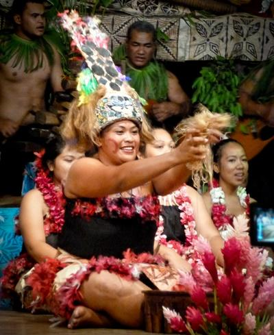 A local woman in Samoa takes part in a community celebration