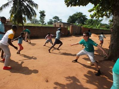 Projects Abroad Care volunteers organize fun groups games and activities for children on an outreach project in Togo