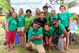 Volunteers pose for a picture on a Shark Conservation Project placement in Fiji