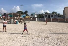 A beach playground in Belize where children practise different sports with volunteers from our Multi-Sports project.