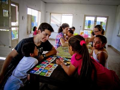 Volunteers chat to their students in Argentina, Latin America