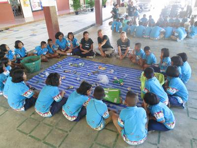 Projects Abroad Marine Conservation volunteers run a conservation education workshop at local school in Krabi, Thailand